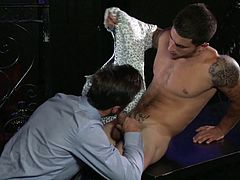 Slutty Vadim is obviously attracted to naughty Mike, who looks extremely smart, wearing an elegant shirt. Click to watch this hot guy taking off his suit, while his cock is passionately sucked by his horny partner. Enjoy the sexy details!