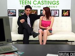 Do you think bitches with red hair are hot? Watch how slutty Macy handles with an angry partner during a brutal casting, where she is undressed with quick and spontaneous movements and her hands are tied with strong ropes. See this bitch sucking cock on knees!