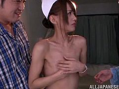 Airi licks the nipples of her patients, to make them feel better and turn them on. They want to make her feel good too, so the cute nurse gets her hairy pussy fingered fast and deep. She is ready to cum, and then she squirts her cunt juice all over the bed, leaving a huge stain.
