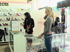 The lady customers, who enter the shop, are challenged to show their tits. First, they all refuse, but their shyness fades away at the sight of cash... Click to watch a naughty blonde-haired babe receiving money, to pull over her blouse and show her small boobs! Have fun.