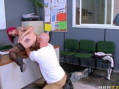 A horny worker gets really horny around a seductive punk bitch with pink-dyed hair. The busty milf is excited to feel his lusty touch, as he rimms her crazy ass and squeezes her big boobs. Click to watch the naughty tattooed slut sucking cock passionately!