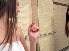Brunette Kitty Jane masturbates in her shower. Wet pussy fin
