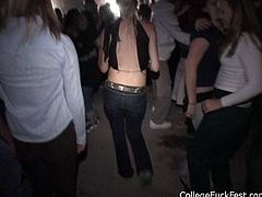 Crowd of kinky guys and their slutty chicks performs dirty college fuck fest