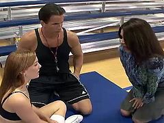 Superb milf teacher Raquel DeVine screwing her students Dani Jensen and Talon inside 3some only onto Awesome America