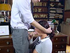 Slutty Emma gets loose in the principle's office. The blonde busty teacher with glasses and sexy stockings, encourages her lusty desires, helping the naughty babe to feel more comfortable. The attractive schoolgirl with big boobs is ready to suck cock. Watch her pounded hard on the desk.