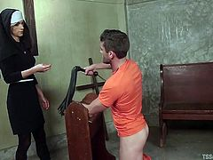 This prisoner has been a bad boy, but Nina will fuck him hard, until he changes his ways. He gets bent over a pew and face fucked like a slut. Her massive lady cock makes him gag and choke. That will teach him a lesson.
