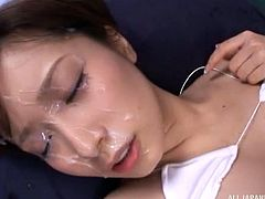 This horny bitch looks very hot, while she stares at the camera and rides cock in the same time. Click to watch slutty Minami, a versed Japanese with crazy body and hairy cunt, getting loose. This dirty whore just craves to have her face covered in yummy cum!