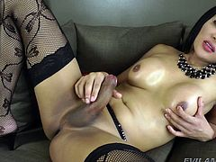 Fanta is looking really lovely in her fishnet stockings and lingerie. The Asian beauty whips out her big cock and jacks off hard and fast. She is ready to blow cum from her lady-cock all over herself and she rubs her nipples.