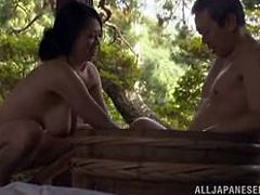 This beautiful woman climbs on top of her man and rides him, with her beautiful saggy boobs flopping around. She bends over, to take it from behind and when they both exhausted, she washes him up in the tub.