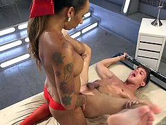 A naughty transsexual woman is eager to please her horny partner. The bitchy shemale with beautiful long hair and small tits, wears kinky red stockings. Click to see this dominant honey fucking Alexander, after he passionately sucks dick.