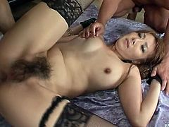 Lustful Japanese nympho Yuna Hirose gets bushy pussy polished mish (MMF)