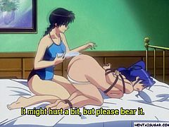 Hentai lezzy girl gets enema and ass toyed