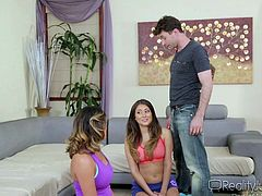 Slutty Bliss Dulce has come to help Danica with her physical exercises. When these ladies are taking a short break, lusty Danica's partner enters the room and comes by to say hello. But how can he go away, when he is so turned on? Watch the bitches sucking cock and undressing for fun.