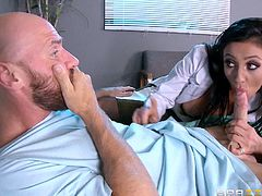Sexy milf doctor Audrey, has an ultimate treatment, that proved to be fail-proof every time she applied. As her patient Johnny is hospitalized, she finds his hard cock and sucks it nicely, with having her pussy licked in 69 position. After the amazing oral play, Audrey spreads her legs and gets banged harder!