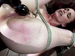 Bella Rossi has been tied up severely with inescapable ropes, for being so slutty. The merciless executor wants to give her the harsh treatment, this bitch deserves... Watch the naked lady with incredible big tits, terribly aroused with the help of a vibrator and a kinky dildo.