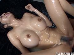Fake tits Japanese babe fucked hard and showered in creamy goo