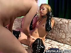 Whorish Asian chick Kat gets brutally butt fucked in hardcore porn clip