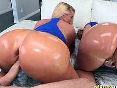 It all begins one afternoon, when these blonde bitches get horny and express their longing wish to taste cock... Imagine two big oiled asses, just waiting for a hard dick to pound them wildly. Julie and Karen are craving to have fun, so click to enjoy the hardcore scenes!