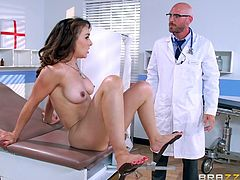 Have you got kinky fantasies with fucking in unusual places, such as a hospital? A slutty milf with big wonderful boobs went to see her doctor. During the consultation, the brunette lady got very horny and began sucking the guy's cock. Watch her pounded hard from behind!