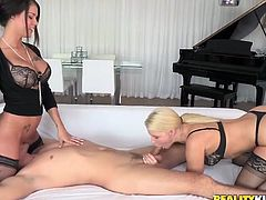 Magnificent double blowjob from two majestic white girls