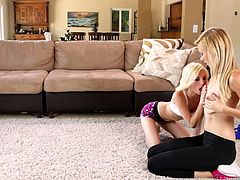 These attractive naughty teens like to keep fit and start the day with some physical exercises. Click to see the blonde sluts undressing and exposing their small tits to the camera. Piper is really horny and passionately kisses Alexa. Have fun!