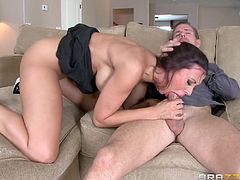 Naughty Rachel impresses her lover with an inciting blowjob. Click to watch this busty milf undressing and exposing her appetizing buttocks, while bending over the couch. She just loves spreading her legs, getting licked, and getting pounded, and having her husband watch is even more exciting.