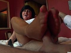 George and his friend's mom taboo session - footjob handjob