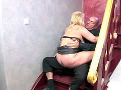 Old lady finger fucked by a bald dude and her pussy is juicy
