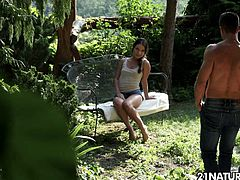 Hot fresh babe Anita Bellini finds a handsome man in the magical garden