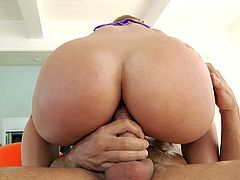 After a hot 69 she slides down his cock and cums her brains out