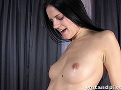 Cute and sexy babe Mia playing kinky in wet and pissy porn video