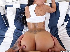 Lela Star has a stunning ass, that has become more and more desirable with her pair of mesmerizing titties. See her moaning with pleasure, as this lucky tattooed guy fucks her from behind. With hard strokes, guy makes her round ass and tits bounce. Let's see how long she can take it!