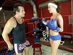 This sexy brunette loves to box, to keep fit. She goes to the gym with really skimpy clothes on and makes sure, that all eyes are on her. She also calls upon her instructor, to teach her a trick or two. But instructor can barely keep his eyes off her & instead, he kisses Stella and readies her for more...