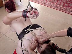 Prepare for some intense hardcore activities! A redhead bitch with big tits has been awfully bonded with rope and tied up strongly. A dominant guy stuffs his cock right down her throat, as her crazy ass is rimmed passionately by a busty blonde.