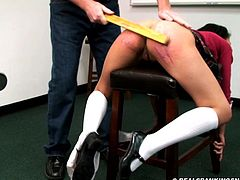 Schoolgirl spanked to tears