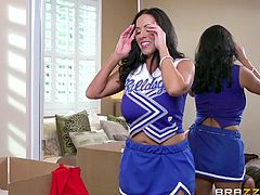 Sexy Veronica changes her red dress for a cheer leader hot costume, when her naughty partner bumps into the room. Click to watch him sucking and squeezing her big wonderful boobs. The hot brunette milf doesn't late to please the guy, offering an unforgettable blowjob.