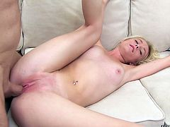 Short haired blonde gets her pussy stretched out with a big cock