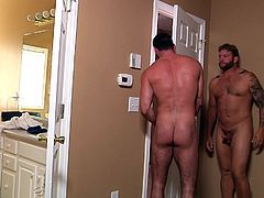 Colby is eager to fulfill his naughty companion's lustful fantasies. The naked muscled man's wife is induced in error by his lie and the horny studs continue playing dirty. Click to see the tattooed guy with sexy beard, sucking dick with passion. Watch him stuffing his dick and fucking his partner's ass!