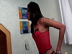 Brunette holds the big dick