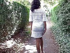 Ebony babe Mels teasing public flashing and outdoor masturbation of black amateur