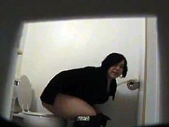 Fat girl caught on toilet