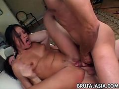 Insatiable slut Jayna Oso fucks two horny studs getting her ass stretched as fuck
