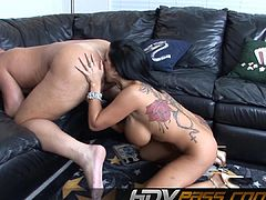 Brunette Tattooed Sienna West Licking Ass