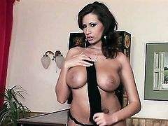 Sensual Jane with gigantic melons and shaved beaver enjoys great masturbation session
