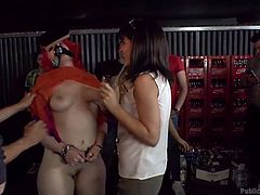 She is degraded and has slurs written all over her. The slave has to get on her knees and suck every cock, that is put in front of her. She chokes and gags on dicks, as everybody watches her. She is so humiliated.