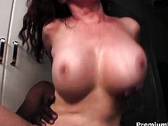 Mae Victoria with massive knockers shows her slit to lucky guy before he fucks her slit in steamy interracial action