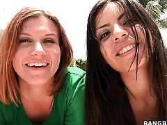 Fabulously hot stunner Yurizan Beltran gets her beaver tongue fucked by lesbian Sara Stone in a variety of sex positions