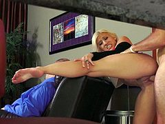 Passionate sexy blonde Cristi Ann with well shaped butt and perfect big melons gets her cunt fucked good and hard from behind. Watch good looking screaming girl get heavily fucked.