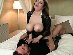 Sultry goddess shows her dick sucking skills in blowjob action with David Perry