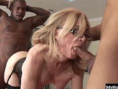 With no bra or panties, as she gives the two guys in this interracial, hardcore, MMF threesome a handjob, before bending over to give one guy a blowjob, while his best friend is behind her, screwing her from the rear. Before long, they give her a DP followed with two facial cumshots.